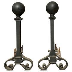 Pair of Large circa 1900 Iron Andirons, Ball Finials