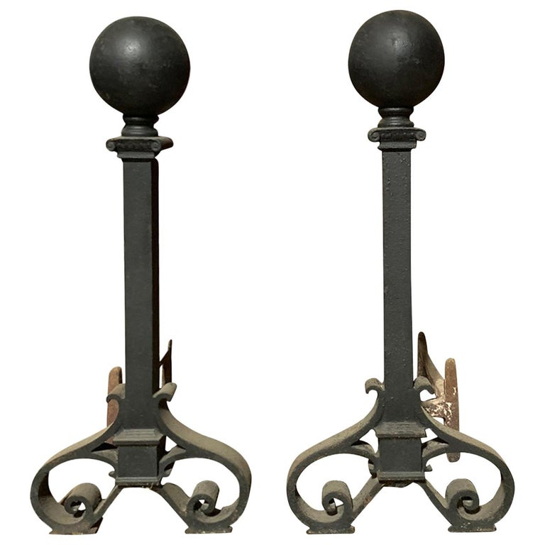 Pair of Large circa 1900 Iron Andirons, Ball Finials For Sale