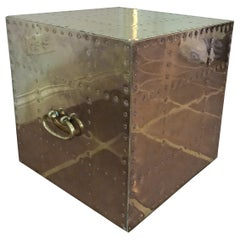 Sarreid Brass Cube Side Table