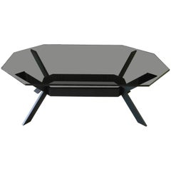 Octagonal Tinted Glass and Dark Stainless Steel Coffee Table