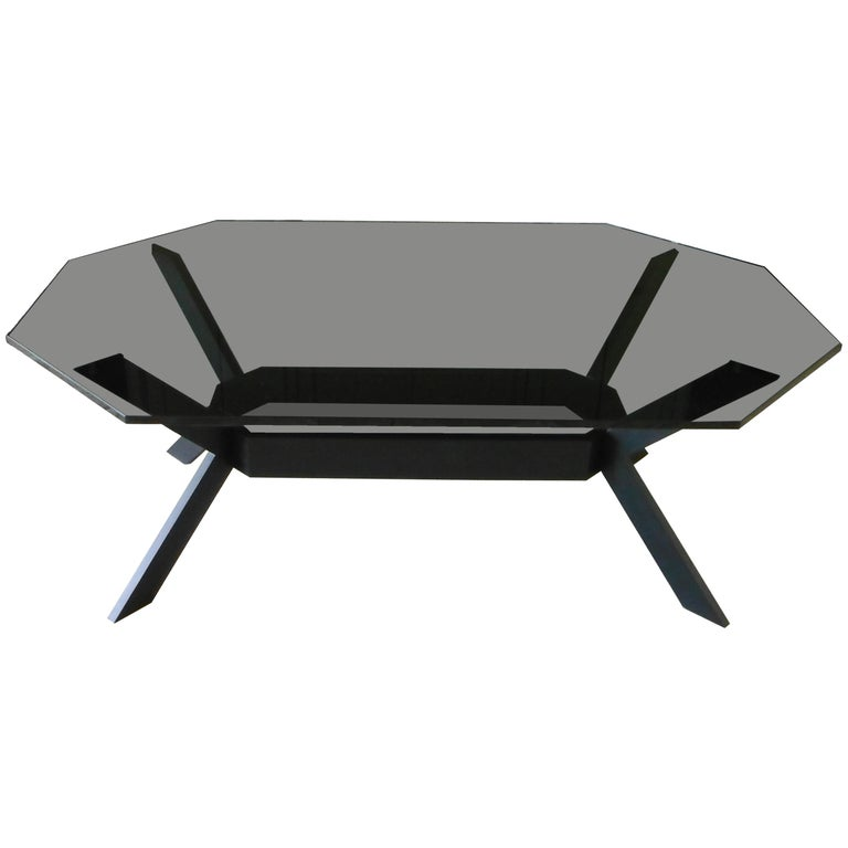 Octagonal Tinted Gl And Dark Stainless Steel Coffee Table For