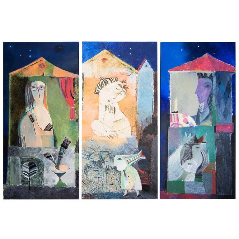 Ivan Semiletov Evening City Oil on Canvas For Sale