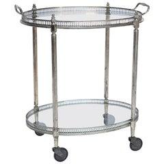 Oval Brass and Glass Bar Cart