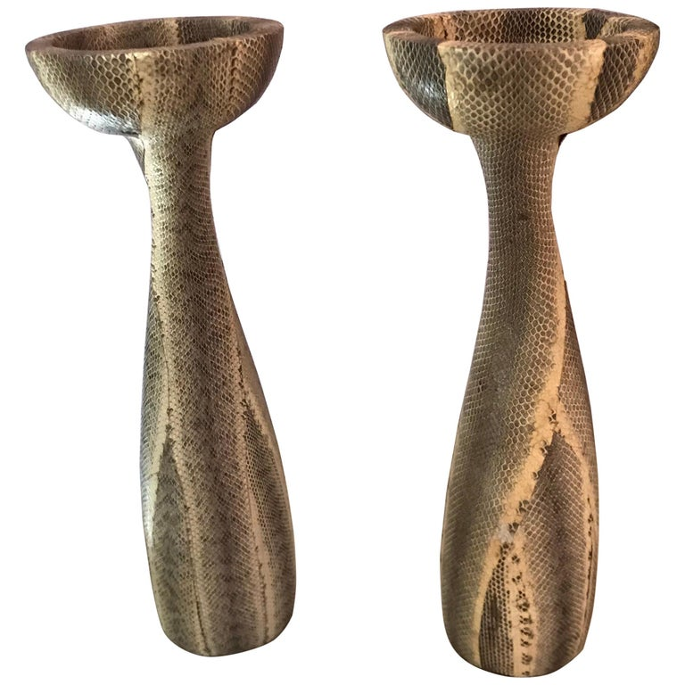 Snakeskin Candlesticks by Luisa Robison For Sale