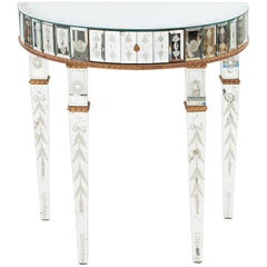 Pair of Italian Neoclassic Style Mirrored Half Console Tables