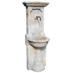Narrow Carved Limestone Wall Fountain from France