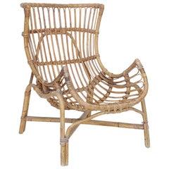 Italian Rattan Chair Designed by Gio Ponti for Bonacina