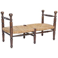 French Rush Seat Bench