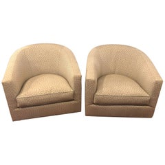Pair of Milo Baughman Style Swivel Chairs in a Fine A. Schneller Sons Upholstery