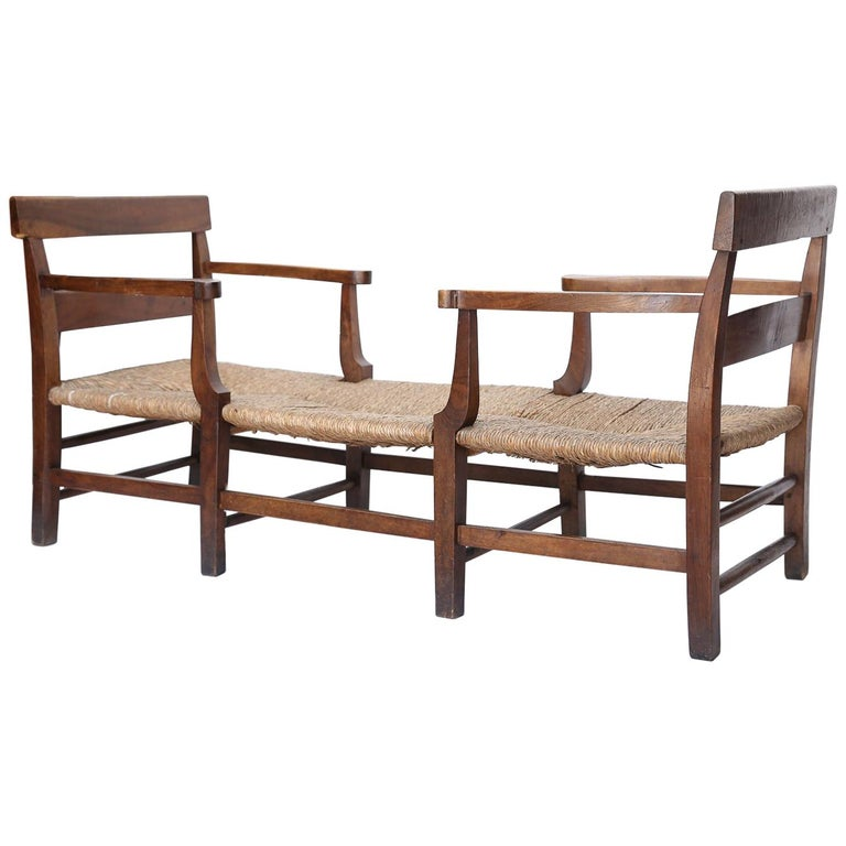 Super French Antique Rush Seat Bench Or Day Bed Machost Co Dining Chair Design Ideas Machostcouk
