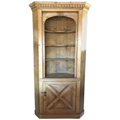 Impressive Very Large Natural Pine Barrel Back Corner Cupboard Cabinet