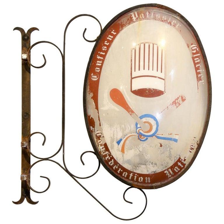Vintage French Confiseur, Patissier, Glacier Shop Sign For Sale