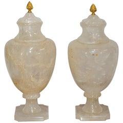 Pair of Brazilian Rock Crystal Urns
