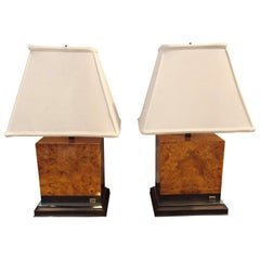 Pair of Jean Claude Mahey Burl Wood & Chrome Base Table Lamps with Custom Shades