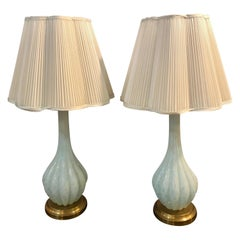 Pair of Tall Murano Glass White Blue Color Tear Drop Design Table Lamps