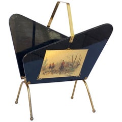 Gio Ponti Style Magazine Rack, Ebonized Wood and Brass with 2 Prints, Italy