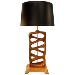 Sculptural Hand Carved Wood Table Lamp, 1950s