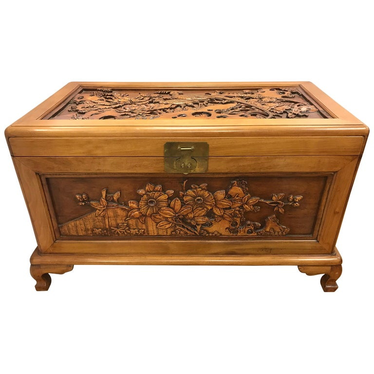 Carved Chinese Trunk Box For Sale