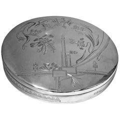 Large Persian Solid Silver Circular Box, Tehran, circa 1910-1920