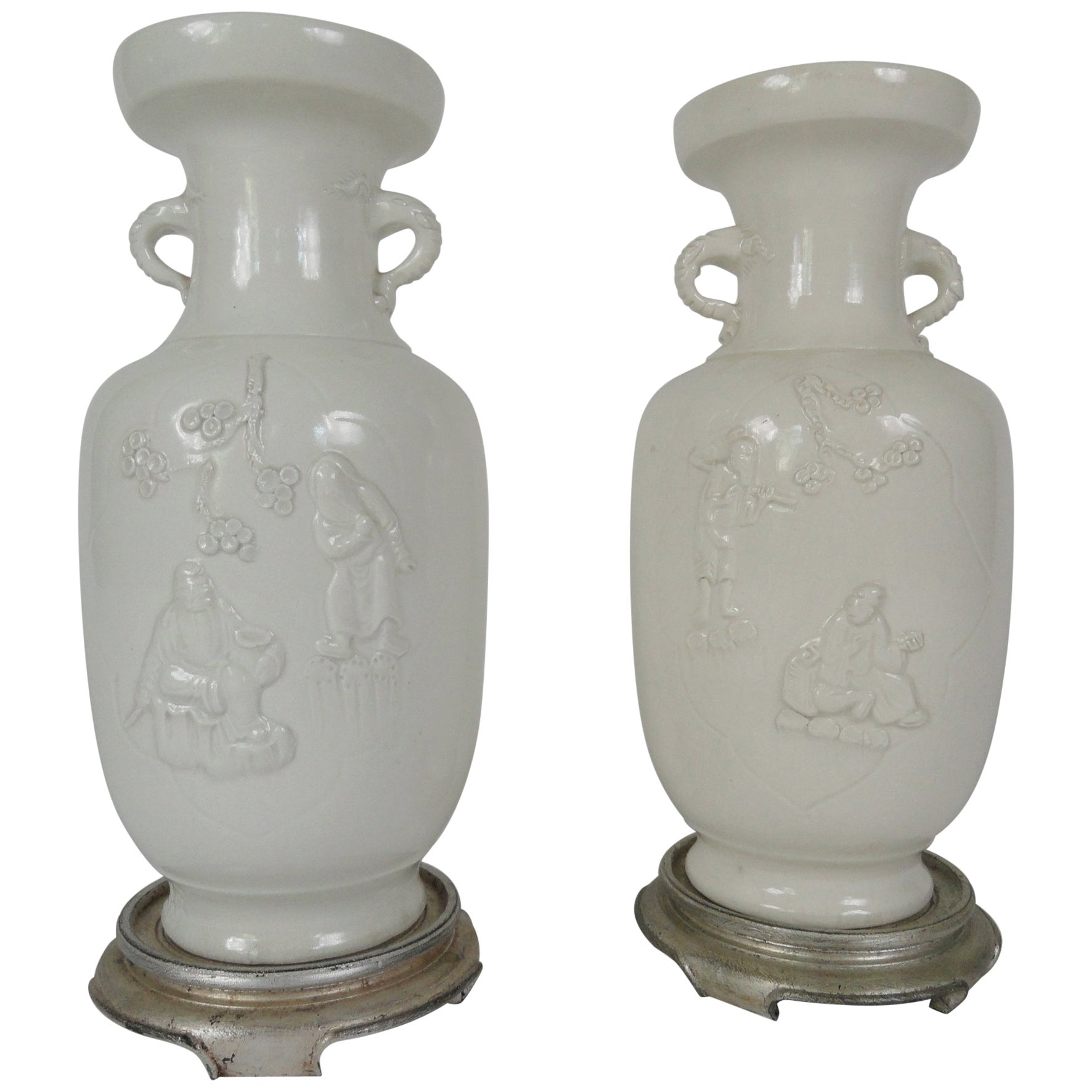 vase de decoration Pair of 20th Century Blanc de Chin Chinese Vases For Sale at 1stdibs