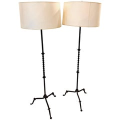 Pair of Diego Giacommetti Style Hand Welded Metal Standing Lamps