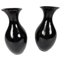 Pair of Late 20th Century Tete de Negre Vases