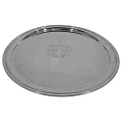 Very Large and Heavy American Sterling Silver Tray with Engraved Armorial