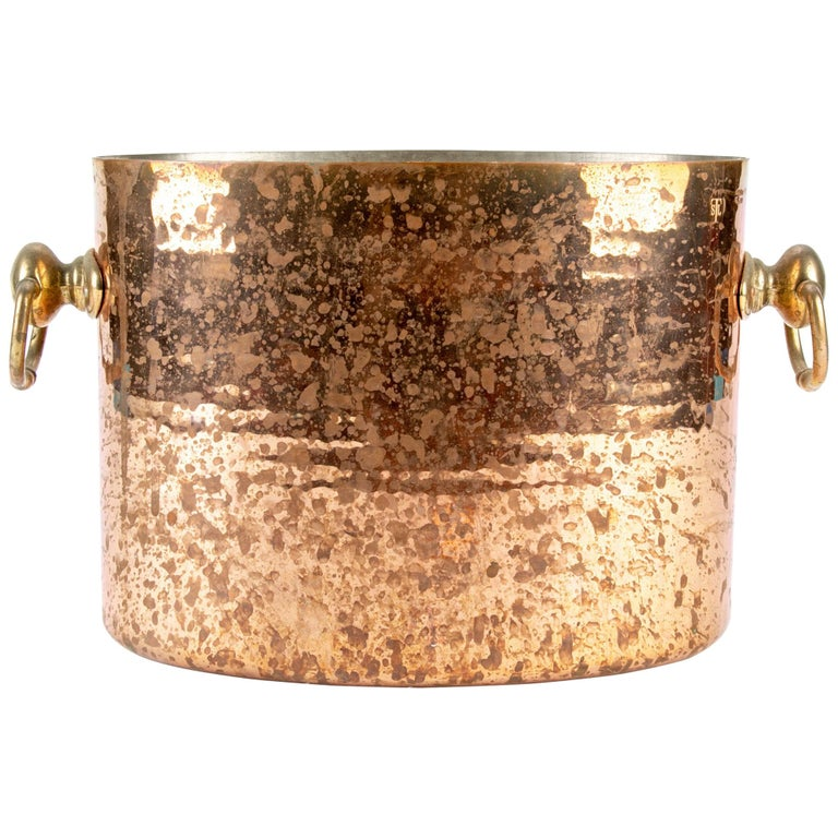 Antique STL French Copper Oval Ice Bucket For Sale