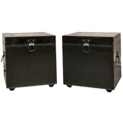 Pair of Contemporary Dark Chocolate Leather Storage Tables