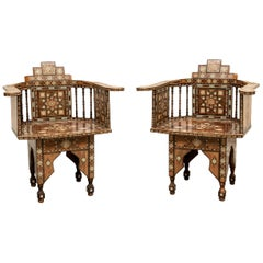 Pair of Vintage Syrian Inlaid Armchairs