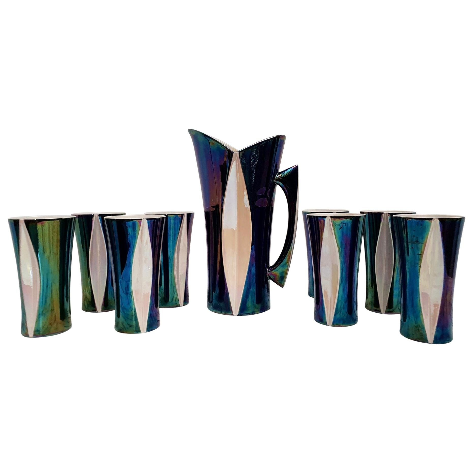 Mid-20th Century Iridescent Ceramic Drinks Set of 9 Made in France, 1970s