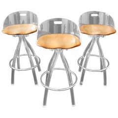 Mid-Century Modern Set of 3 Lucite Wood Saddle Seat Bar Stools by Hill Mfg 1970s