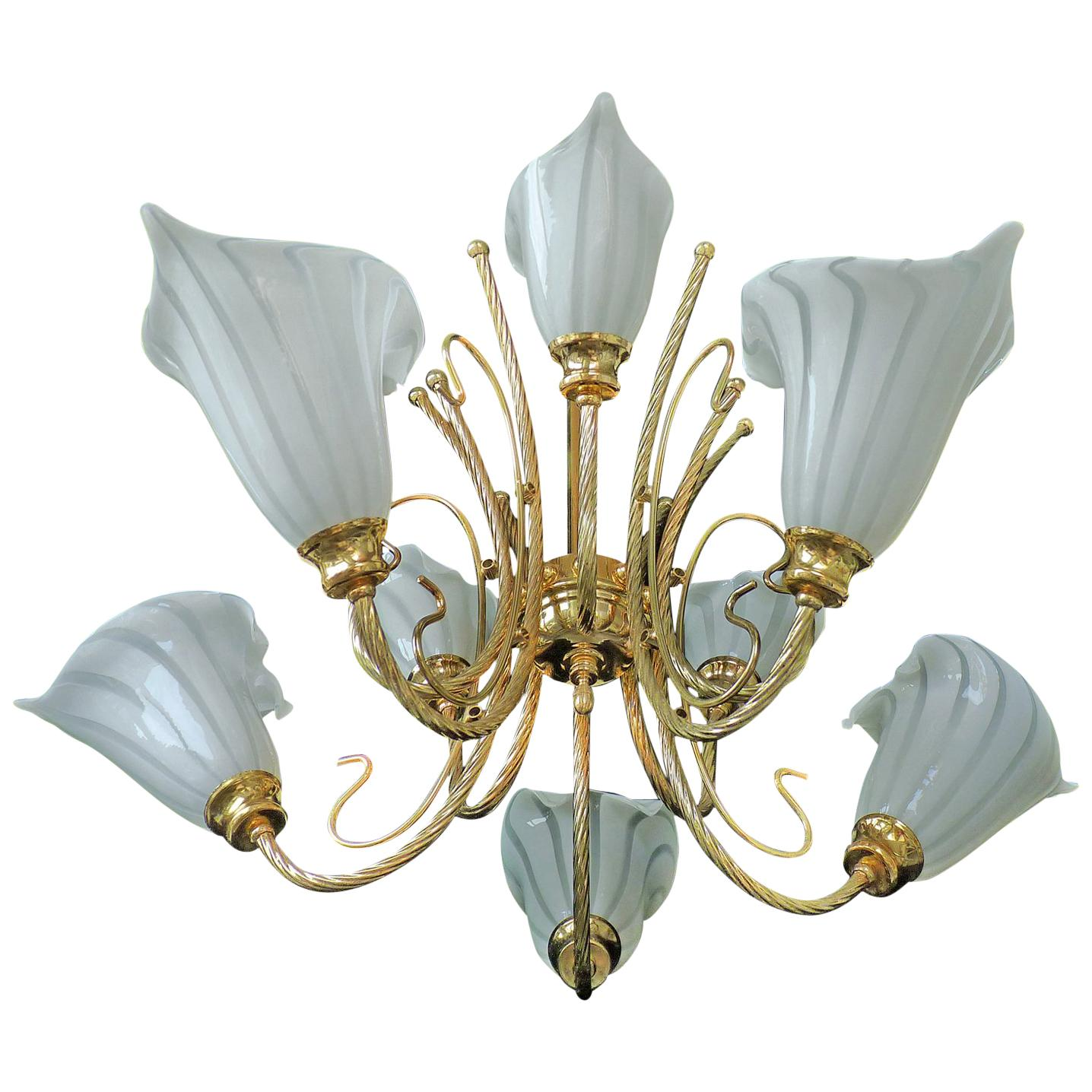 Large 10 Light Murano Calla Lily Chandelier By Franco Luce, Art Glass Gilt  Brass