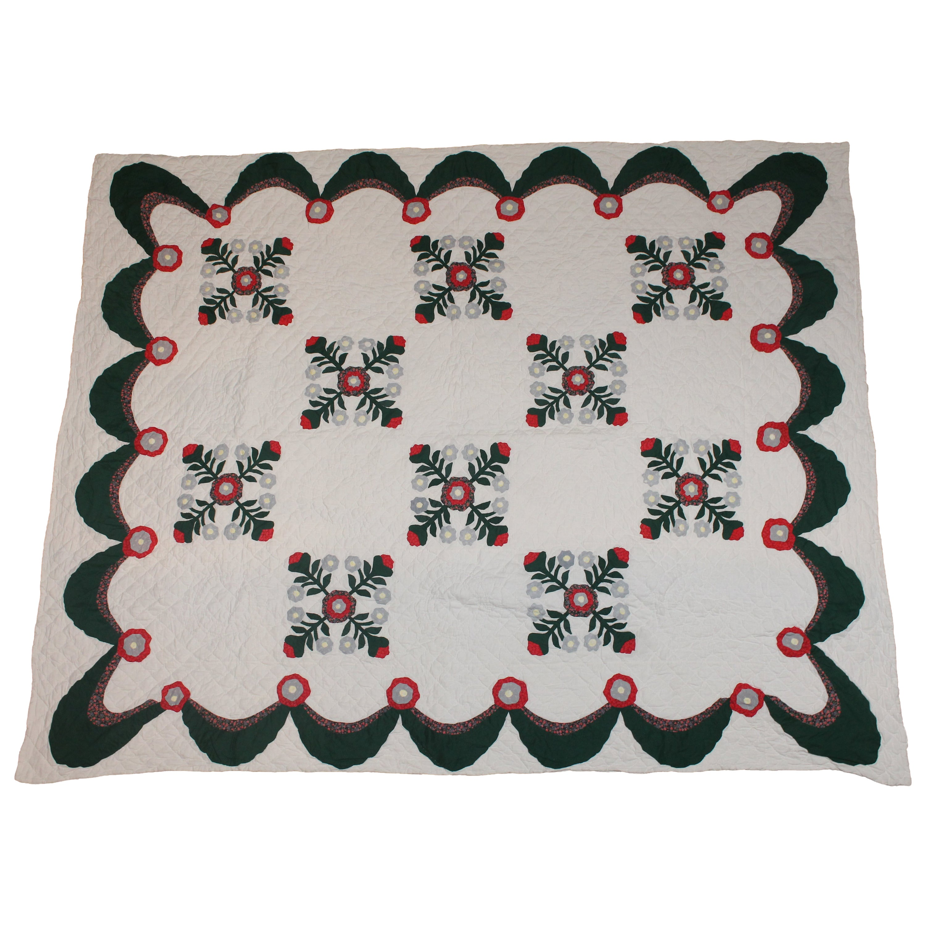 Antique Quilt Red and Green Applique