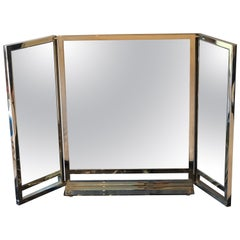 Hollywood Regency Solid Heavy Chrome Plated Tri-Fold Vanity or Table Mirror