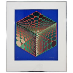 Mid-Century Modern Framed Litho Signed Numbered Op Art Print by Vasarely, 1970s
