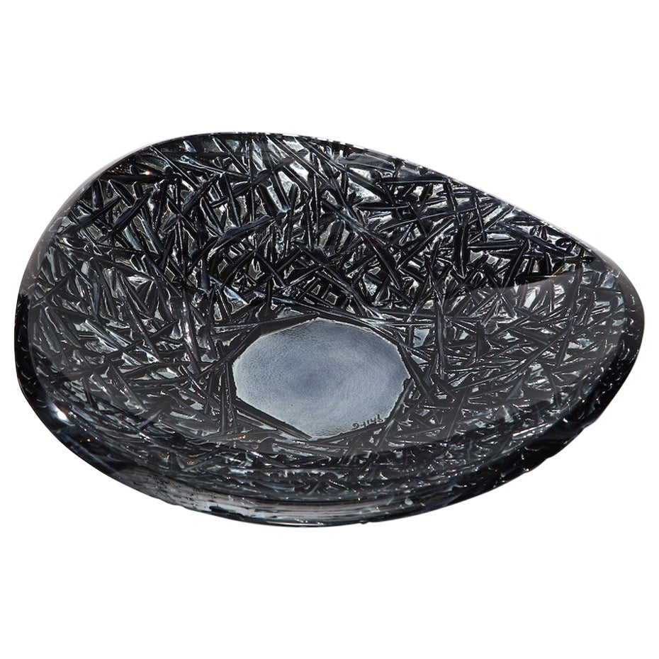 Studio-Made Carved Glass Dish by Ghiró Studio, Large