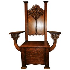 English Arts & Crafts Mission Chair circa 1890 Tree of Life Edwin Ridgeway