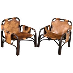 Pair of Bonacina Armchairs in Leather and Bamboo, Italy, 1960s