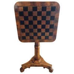 19th Century English Tilt-Top Game Checkerboard or Card Table