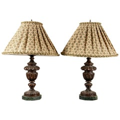 Pair of Carved Mahogany Table Lamps