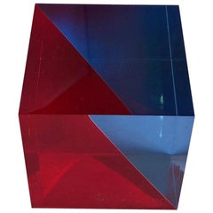 Op Art Acrylic Cube Sculpture by Vasa Mihich