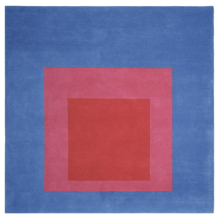 Homage to the Square Rug 'Blue or Pink or Red' by Josef Albers