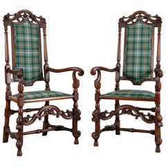 Pair of Antique English Carved Hall Chairs in a Tartan Plaid