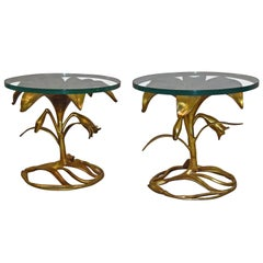 Pair of Arthur Court Lily Floral Form Side Tables