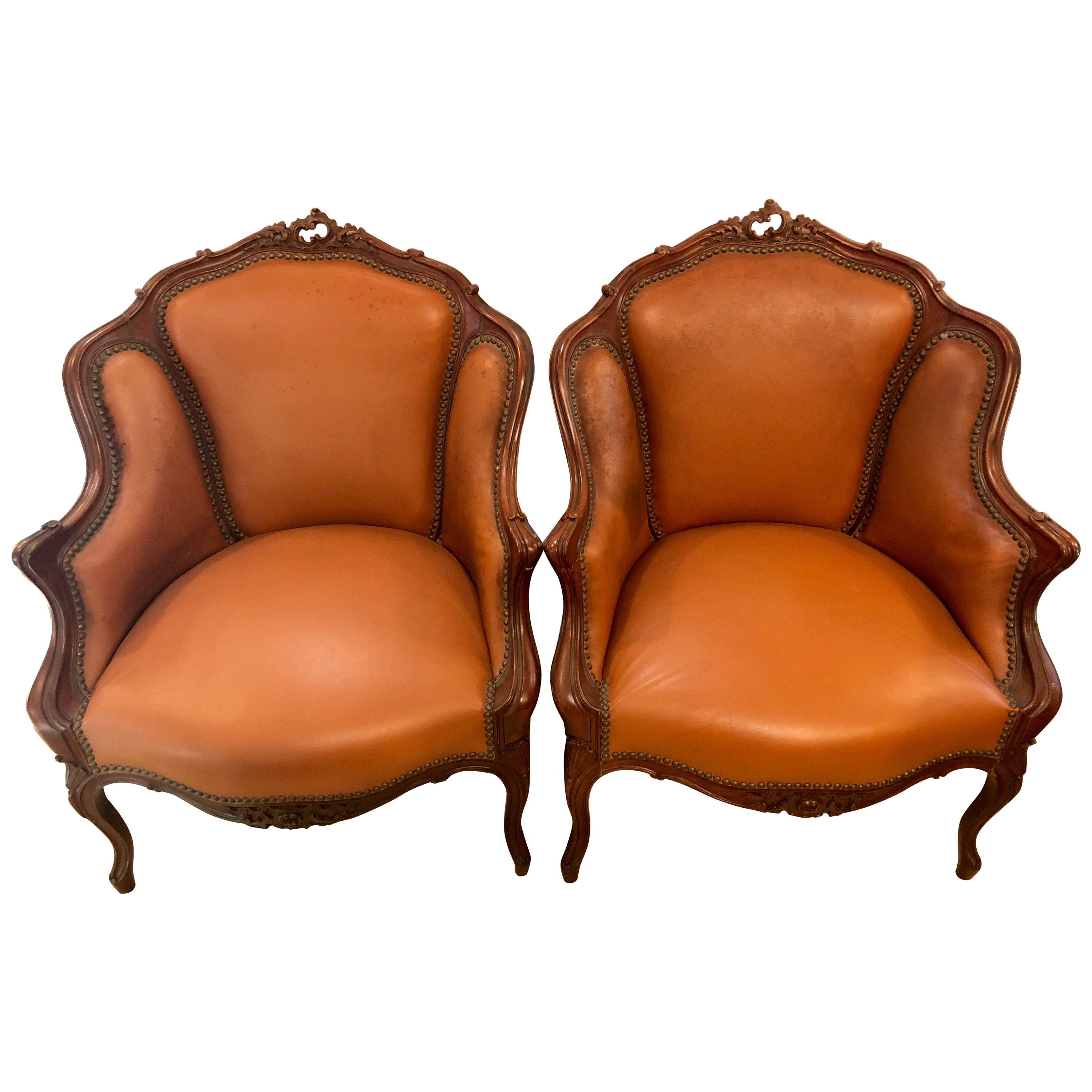 Pair of Early 1920s Louis XV Style Barrel Back Bergere Armchairs