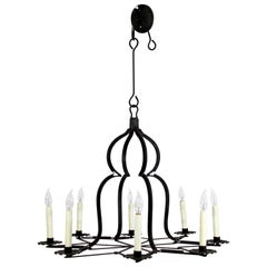 Mid-Century Modern Holly Hunt Large Wrought Iron 8-Arm Chandelier, 1970s