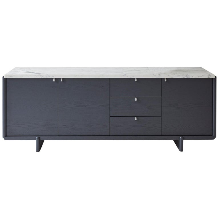 Nocturne Credenza with Slate Lacquer Finish and Calacatta Marble For Sale