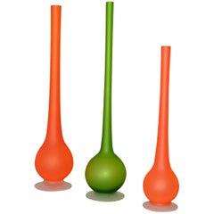 Carlo Nason for Rosenthal Netter Satin Glass Bud Vases