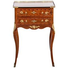Inlaid French Louis XV Style Stand Side Table